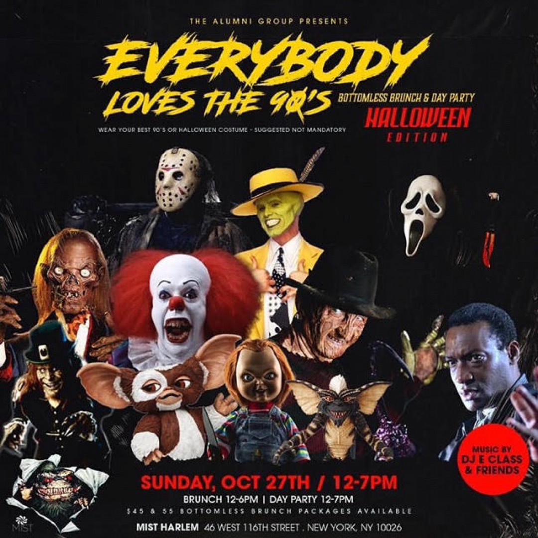 New York Halloween Party 27th Oct 2020 Everybody Loves The 90'S Bottomless Brunch & Day Party   Halloween
