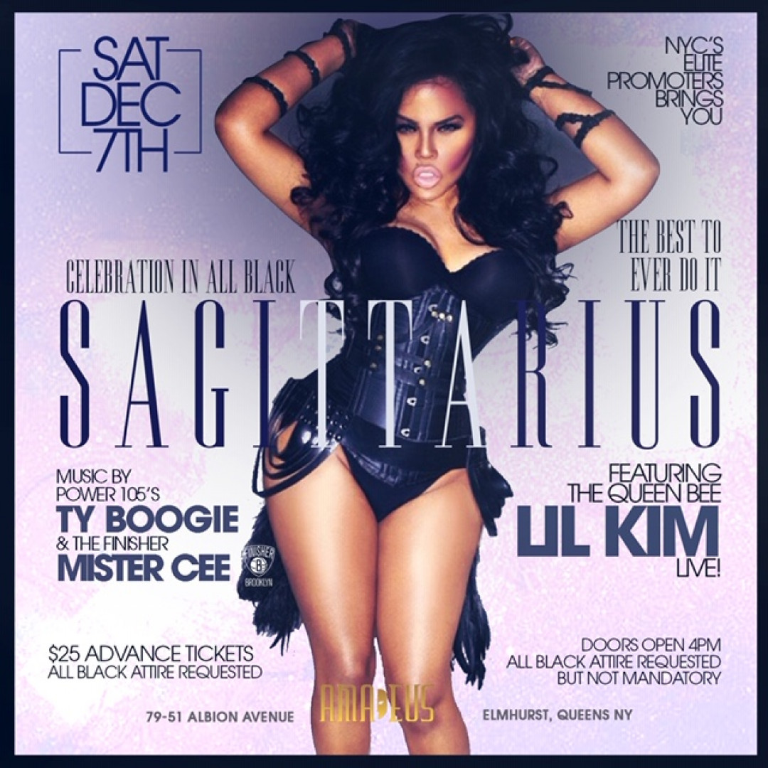 SAGITTARIUS : ALL-BLACK DAY PARTY WITH QUEEN BEE LIL KIM LIVE !!!