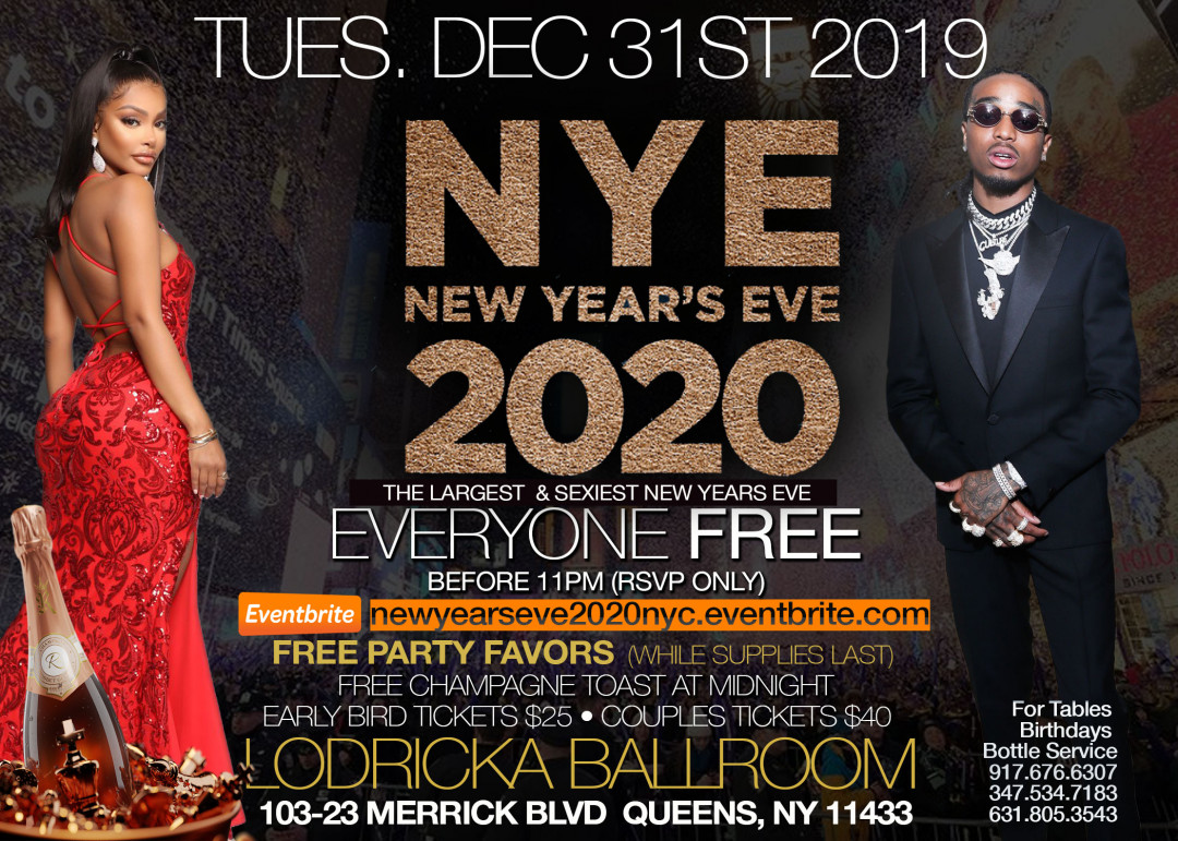 NEW YEARS EVE 2020 BALL • FREE ON RSVP B4 11 • FREE CHAMPAGNE TOAST +  PARTY FAVORS