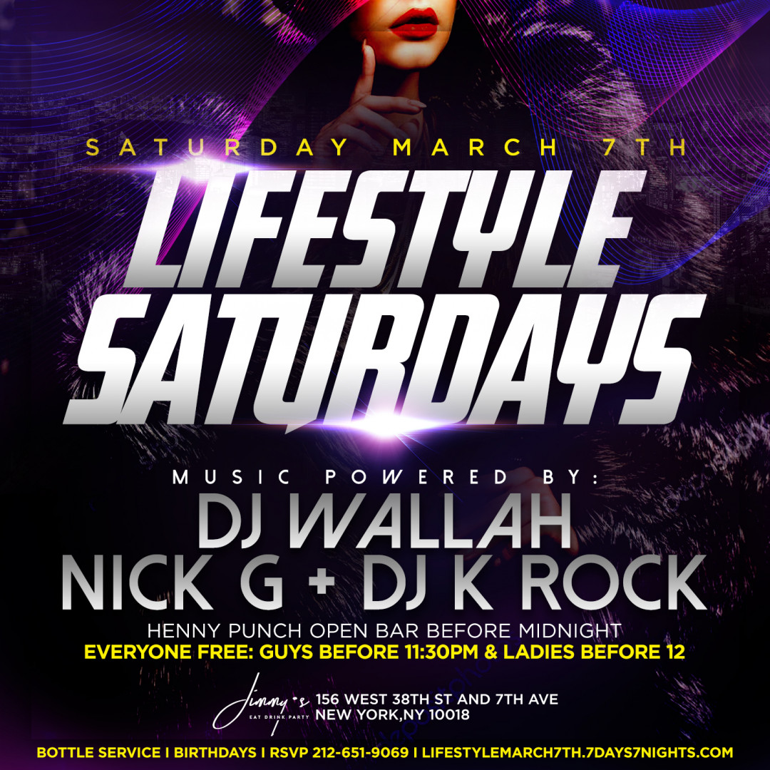 Lifestyle Saturdays @ Jimmy's w| Henny Punch Open Bar