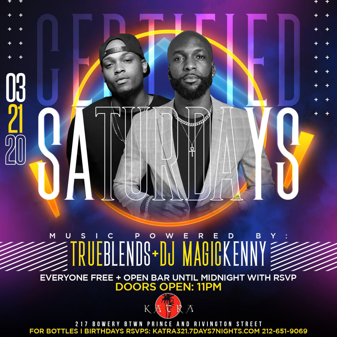 Certified Saturdays At Katra Everyone FREE + OPEN BAR
