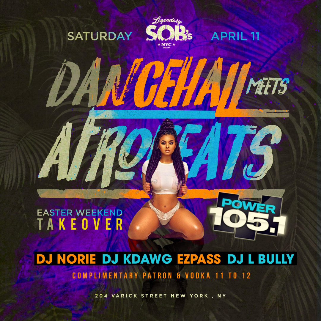 Carib Saturdays Presents: DANCEHALL MEETS AFROBEATS w| FREE PATRON & VODKA