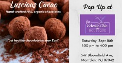 Lucious Cacao Pop Up at The Eclectic Chic Boutique ,Montclair