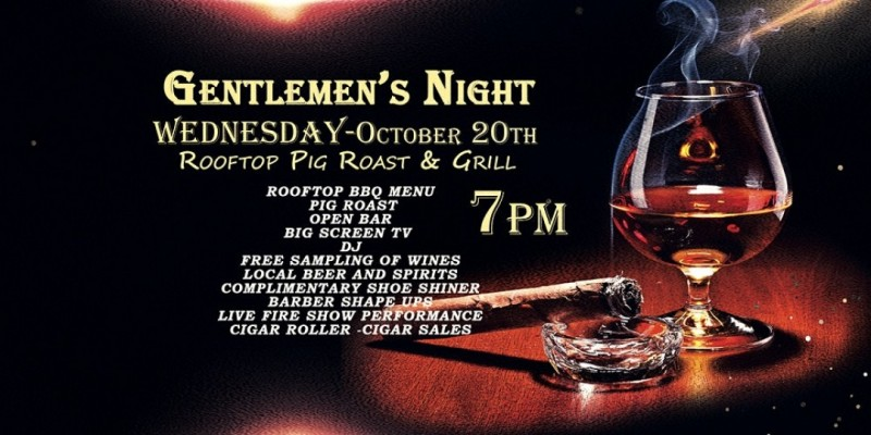 GENTLEMEN'S NIGHT OUT - ROOFTOP BBQ AND CIGAR NIGHT ,Paramus